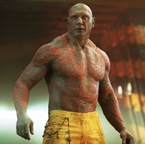 Dave Bautista as Drax the Destroyer, tattooed