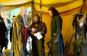 Lee Pace, Peter Jackson and Luke Evans on the set of The Bat