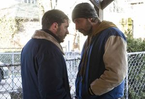 Matthias Schoenaerts intimidates Tom Hardy in The Drop