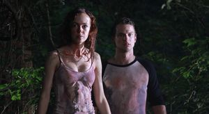 April and Kyle in the woods