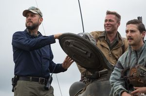 David Ayer and Brad Pitt having a laugh on the set of Fury