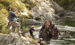 Peter Jackson directing the dwarfs in the river