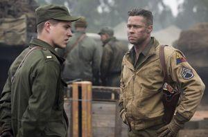 Brad Pitt pissed off, scar on face - Fury