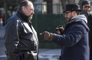 Director Michaël R. Roskam and James Gandolfini on the set