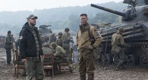 David Ayer and Brad Pitt on the set of Fury