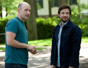 Corey Stoll and Jason Bateman watching something in This Is