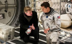 Christopher Nolan and Matthew McConaughey on the set of Inte