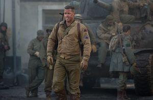 Brad Pitt walking around smoking - Fury
