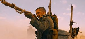 Tom Hardy gunning in Mad Max: Fury Road