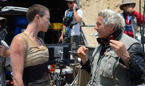 Charlize Theron and George Miller on the set of Mad Max: Fur