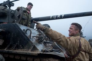 Brad Pitt as Wardaddy Don Collier shouting in Fury