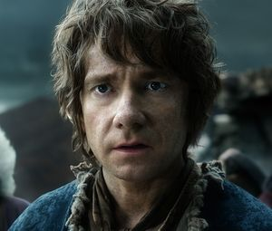 Close-up of Martin Freeman as Bilbo Baggins in The Battle of