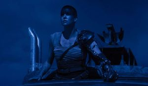 Charlize Theron blue sky at night - Mad Max: Fury Road