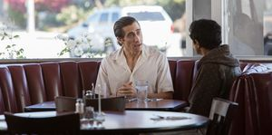 Jake Gyllenhaal and Riz Ahmed at a diner in LA in Nightcrawl