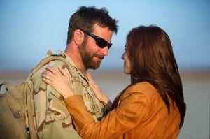 Bradley Cooper as Chris Kyle and Sienna Miller as Taya Renae