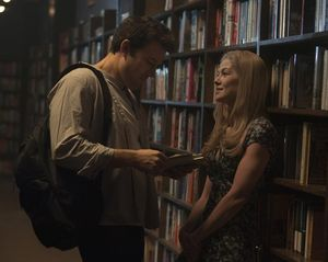 Ben Affleck and Rosamund Pike in the library, Gone Girl