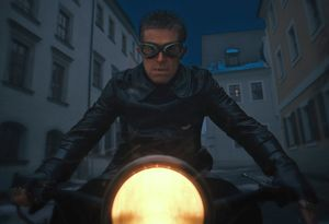 Willem Dafoe as Jopling on motorcycle in The Grand Budapest