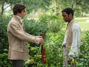 Benedict Cumberbatch as Ford handing over a violin - 12 Year