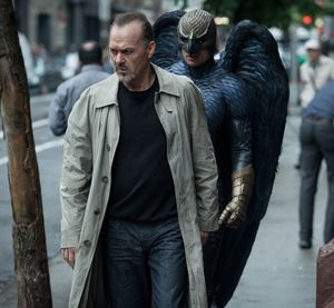 A man in birdsuit follow Michael Keaton around in Birdman