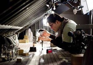 Behind the scenes with the Frankenweenie puppet