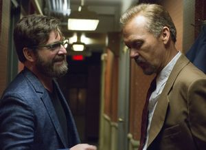 Zach Galifianakis and Michael Keaton on the set of Birdman