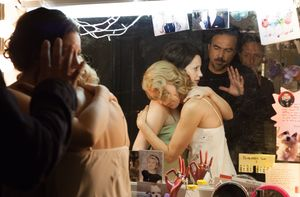 Naomi Watts and Andrea Riseborough on the set of Birdman
