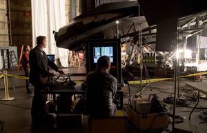 Christopher Nolan filming on the set of Interstellar