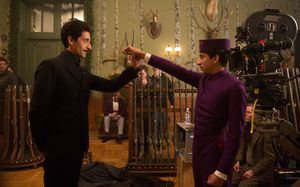 Adrien Brody and Tony Revolori on the set of The Grand Budap