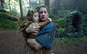 Tom Hanks scared with his kid in the forrest in Cloud Atlas