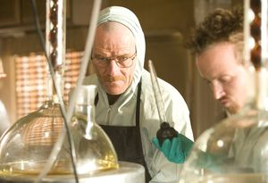 Walter White and Jesse Pinkman in the lab