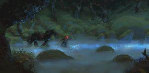 Merida in the dark forrest - Brave artwork