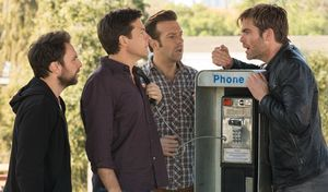Chris Pine with the guys at a payphone in Horrible Bosses 2