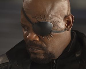 Nick Fury up and close in The Avengers