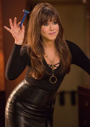 Jennifer Aniston in leather, ready to shave