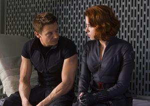 Jeremy Renner and Scarlett Johansson sitting around on The A