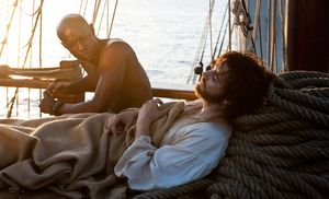 David Gyasi and Jim Sturgess on a boat in Cloud Atlas