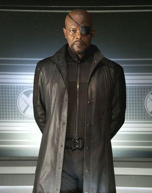 Samuel L. Jackson in black as Nick Fury