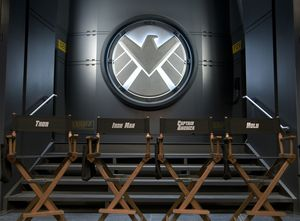 The Avengers and directors' chairs