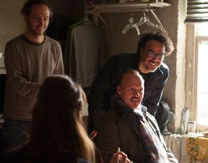 Michael Keaton and crew on the set of Birdman