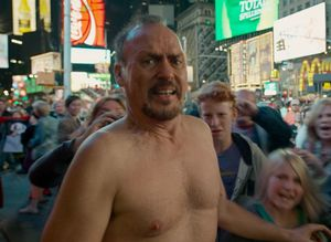 Michael Keaton naked on the street in Birdman