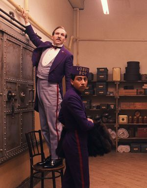 Gustave and lobby boy caught - The Grand Budapest Hotel