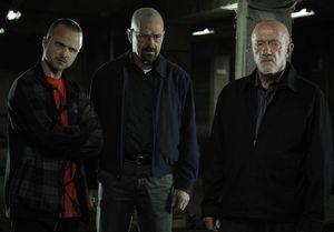 Aaron Paul, Bryan Cranston and Jonathan Banks on the set of