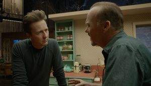 Michael Keaton and Edward Norton having a discussion in Bird
