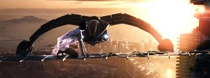 Spaceship and the city sky in Cloud Atlas