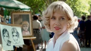 Margaret Keane at an art show in the park