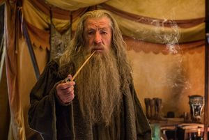 Ian McKellen as Gandalf having a smoke in the final Hobbit f
