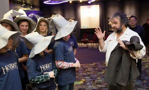 Peter Jackson talks to some young Hobbit fans