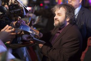 Peter Jackson signing autographs at The Hobbit: The Battle o