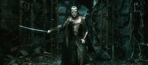 Elrond with sword, ready to fight
