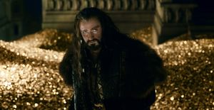 Thorin Oakenshield surrounded by gold - The Battle of the Fi